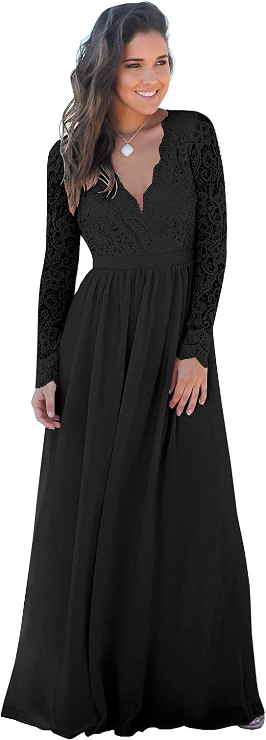 BONOYUER Women's V Neck Long Sleeve Bridesmaid Dress Lace Chiffon Backless Wedding Dresses Formal Party Evening Gown