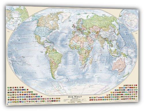 J.Bauer Karten Aktuelle Politische Weltkarte, deutsch, 150 x 100 cm, Aktuell: Stand 2015