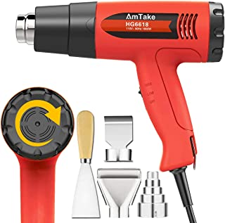 Heat Gun Variable Temperature, Amtake 1800W Hot Air Gun 120°F - 1020°F (50℃~550℃) with 2 Fan Speed, 4 Nozzle Attachments for Crafts, Heat shrink tubing, Stripping Paint, Welding
