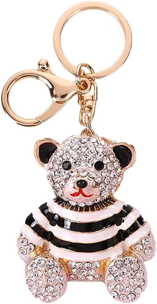 Rhinestone Cute Mini Bear Keychains,Crystal Little Animal Bears Keyrings