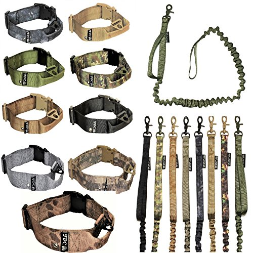 Dog Tactical COLLAR with LEASH Bungee Handle HEAVY DUTY Training Military Army Molle WIDTH 1.5in Plastic Buckle TAG HOLE Medium Large M, L, XL, XXL (XL: Neck 16' - 20', Coyote Desert Tan)