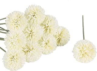 Miracliy 10 PCS Artificial Hydrangea Chrysanthemum Ball Flowers Bouquets Glorious Moral for Wedding Bouquets Centerpieces Arrangements Party Home Decor, White