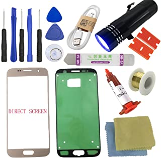 for Samsung Galaxy S7 Screen Replacement-[Direct Screen], Sunmall Front Outer Lens Glass Screen Replacement Repair Kit LCD Glass Repair Kit for Samsung Galaxy S7 G930 G930F G930A G930T.(Gold)