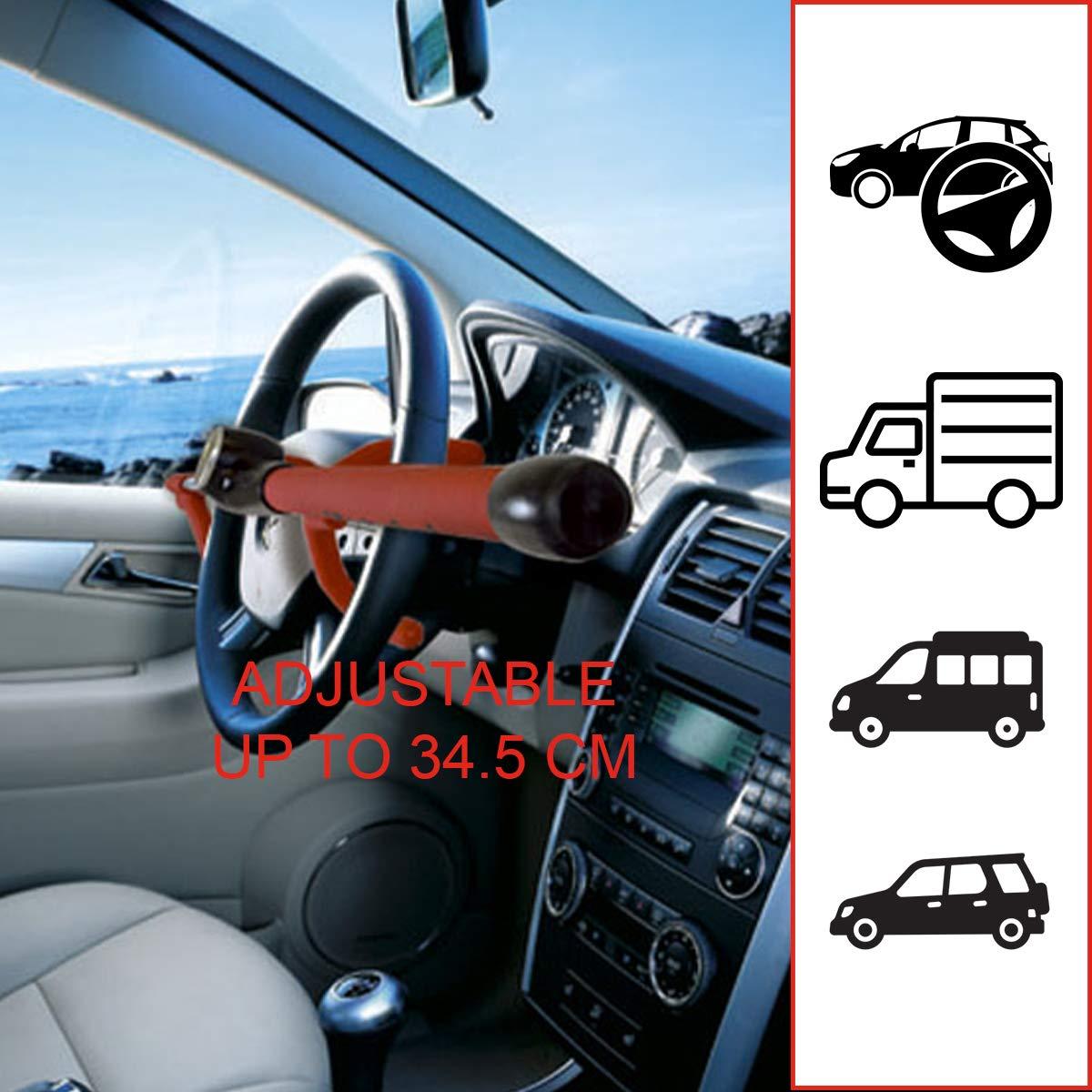Bloccasterzo Auto Universale Master Lock 249EURDAT Antifurto Dispositivo di Blocco per Volante Regolabile Rosso Fino a 34.3 cm