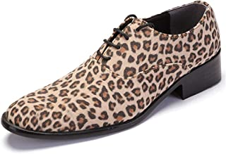 AiHua Huang Fashion Leopard Printed Oxford Shoes for Men Microfiber Leather Business Wedding Loafers Anti-Slip Low Heel Lace Up Pointed Toe (Color : Khaki, Size : 5.5 UK)