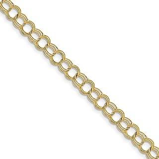 10k Yellow Gold Triple Link Charm Bracelet 7 Inch Fine Jewelry For Women Gift Set