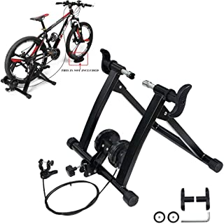 KEENAXIS Portable Bike Trainer Stand Indoor Bicycle Exercise Training 7 Levels of Resistance Magnetic Stand with Noise Reduction Wheel,1 Year Warranty