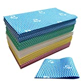 UKEENOR Dish Cloths,Reusable Cleaning Towels for Kitchen,Multi-Use Handi Wipes, Heavy Duty Reuseable Cloths,Machine Washable 11.8'X23.6' 100 Count 5 Colors