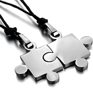 Men,Women's 2 PCS Stainless Steel Pendant Necklace Jigsaw Puzzle Love Couple Adjustable 20~22 Inch Chain