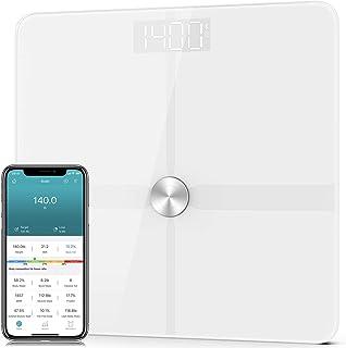 مقیاس چربی بدن هوشمند 1byone ، تجزیه و تحلیل ترکیب بدن حمام وزن دیجیتال بلوتوث با پوشش ITO ، پشتیبانی از برنامه ، 400 پوند (پوند) ، 6 باتری AAA و 1 اندازه گیری اندازه بدن برای بدن (سفید)
