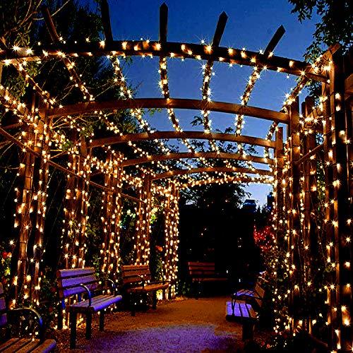Mr.Twinklelight Solar lichterkette aussen,122LED 14.4M Led lichterkette Outdoor Deko für Balkon, Haus, Garten, Hochzeit, Party Deko Wasserdicht Warmweiss Stimmungslichter 8 Modi [Energieklasse A+++]
