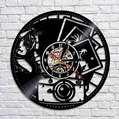 BFMBCHDJ Fotografía Vinilo Registro Reloj de Pared Fotógrafo Tomando la Foto Decoración de Arte de Pared para galería de Fotos Regalo para fotógrafo Sin LED 12 Pulgadas