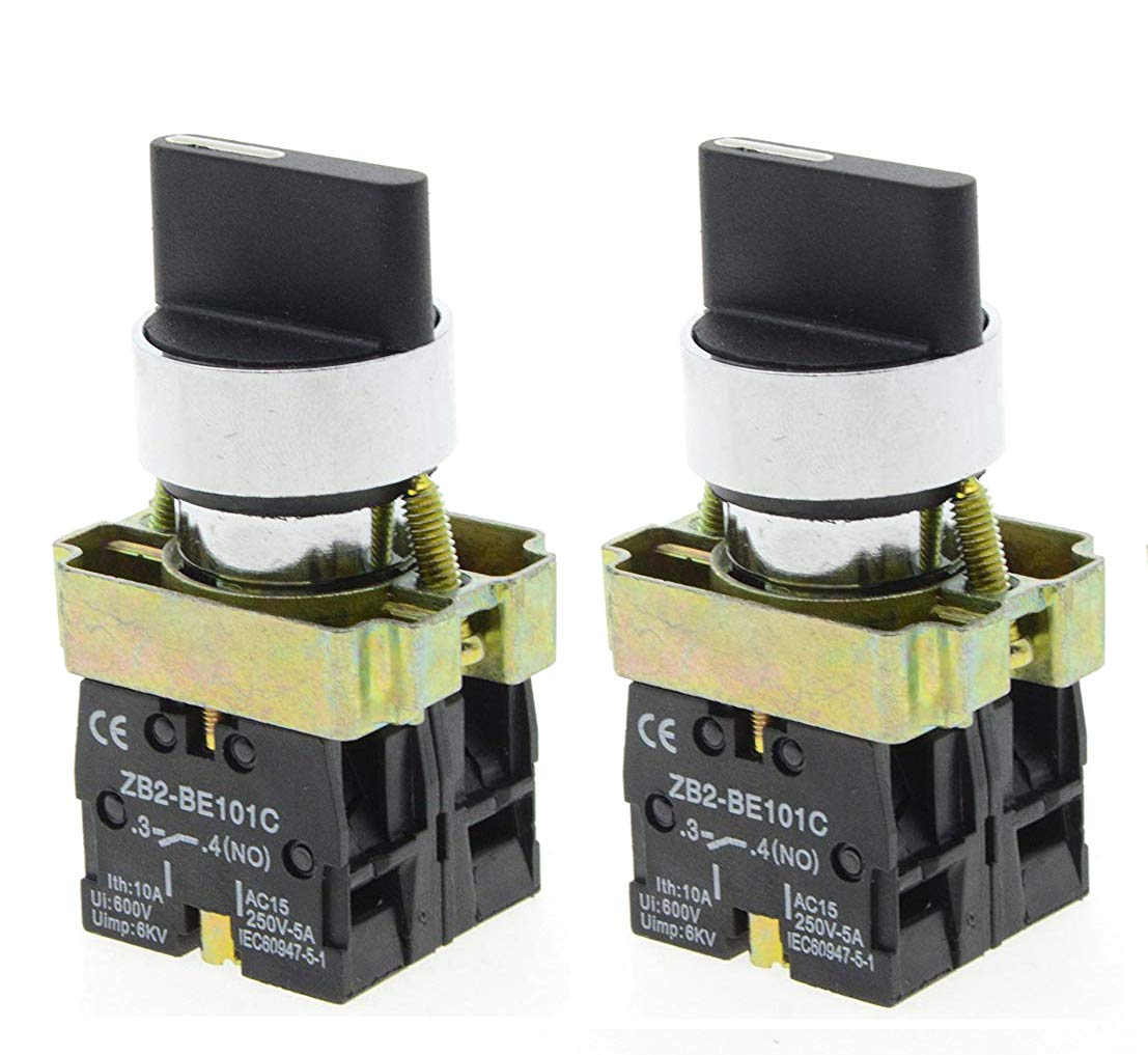 YXQ 2Pcs 2NO 3-Position Rotary Selector Switch 22mm Latching 4 Screw Terminals 10A 600V ZB2-BE101C