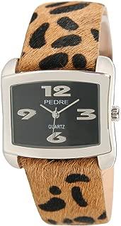 Pedre Women's Silver-Tone Watch with Faux Leopard Fur Strap # 7610SKX-Faux Leopard Fur