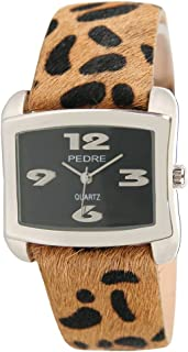 Pedre Women's Silver-Tone Watch with Faux Leopard Fur Strap # 7610SKX-Faux Leopard Fur