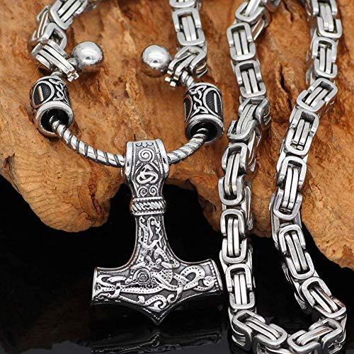 WoShen Colar Vikings Mjolnir, feito à mão em aço inoxidável com pingente de martelo Odin Raven Thor com corrente rei, colar de joia de amuleto celta de mitologia nórdica