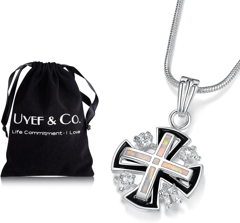 925 Sterling Silver Popular products 100% quality warranty! Finish Jerusalem Opal Cross Gemstone Pendant