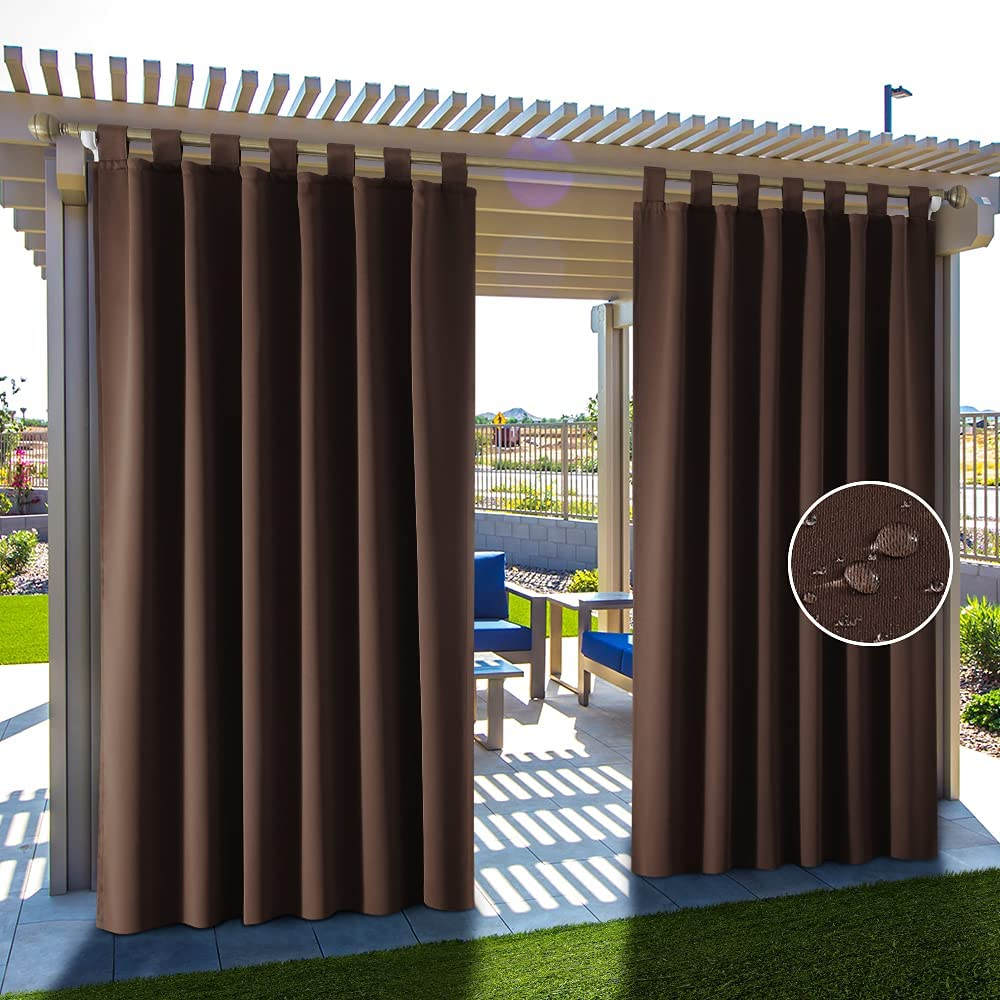 HAKUNA 2 Panels Tab Clearance SALE Limited time Top Waterproof Black Curtains Patio Outdoor Sale Special Price