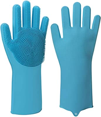 AARIV INTERNATIONAL Scrub Cleaning Gloves with Scrubber for Dish-Washing and Pet Grooming