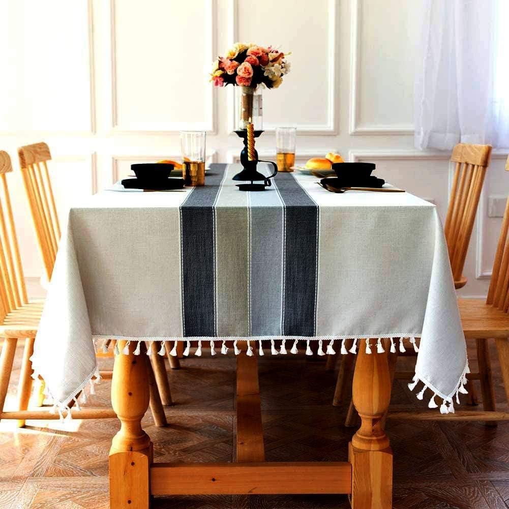 SUNBEAUTY Mantel Mesa Rectangular Antimanchas Algodon Lino con Borlas 140x200 cm Elegante Table Cloth Rectangle Tablecloth para Mesa de Comedor