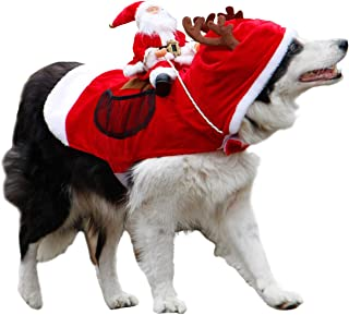 Royal Wise Running Santa Christmas Pet Costumes,Santa Dog Costume Dog Apparel Party Dressing up Clothing for Small Large Dogs Cats Clothes Pet Outfit