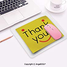 Anti-Slip Customized Mousepad Mouse Mat Thank You Emoji Decor On Notepaper Sticky Post It Yellow Smiley Face Print for Laptop Computer Pc Keyboard