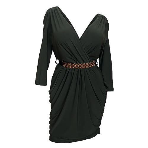 776c984513e eVogues Plus Size Deep V-Neck Wrap Bodice Dress
