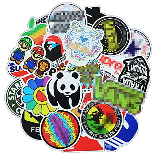 Skateboard Stickers 100 Pcs Adults Teens Cool Vinyl Stickers Fashion Decals for Laptop Computer Scooter Snowboard Helmet Car Guitar Boys Men Trendy Aesthetic Waterproof Graffiti Stickers Bomb Pack