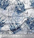 Soimoi Blau Baumwolle Ente Stoff Kompass Schiff & Richtung