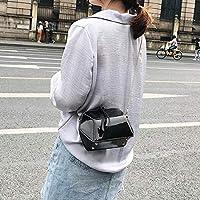 ショルダーバッグ XllrbdレーザークラフトPUレザーショルダーバッグメッセンジャーバッグレディースハンドバッグ(ブラック) (Color : Black)