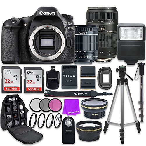 Canon EOS 80D 24.2MP CMOS Full HD Wi-Fi Enabled Digital SLR Camera with Canon EF-S 18-55mm is STM Lens + Tamron 70-300mm f/4-5.6 AF Lens + Accessory Bundle