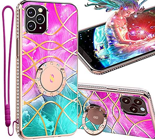 UBUNU iPhone 12 Pro Max Case with Ring Stand | Screen Protector, Cute Glitter Bling Diamond Rhinestone Bumper | Strap | Kickstand | iPhone 12 Pro Max Case for Women Girls 6.7 inch - Goddess Pink