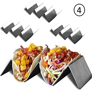 Taco Holder Stand - Stainless Steel - 4 pack - Each Holds Up To 3 Small or Large Soft or Hard Tacos - Taco Truck Tray Style