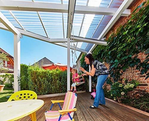 Terrassendach Terrassenüberdachung Carport Komplettset Acrylglas Sinus 76/18 3mm C-Struktur Farblos blendfrei Profilplatten Tiefe:2500mm|Breite:6925mm