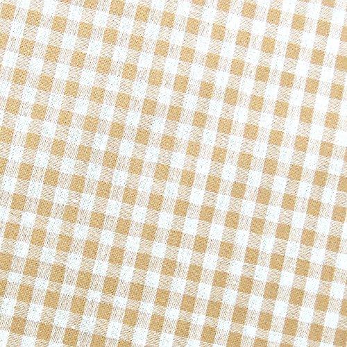 0,5m Vichy-Karo klein 3mm Stoff beige/ weiß Meterware 100% Baumwolle
