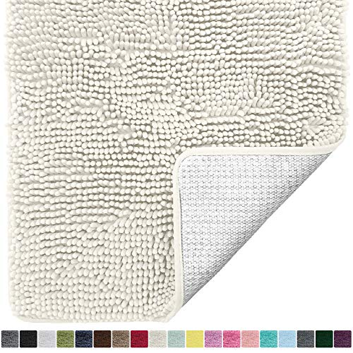 Gorilla Grip Original Luxury Chenille Bathroom Rug Mat, 30x20, Extra Soft and Absorbent Shaggy Rugs, Machine Wash Dry, Perfect Plush Carpet Mats for Tub, Shower, and Bath Room, Ivory Cream