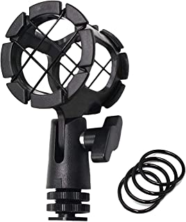 AFVO Microhone Shock Mount Holder Rode Mic Cradle with Cold Shoe for Boompoles, Rode NTG1, NTG2, NTG3, Sennheiser ME66, Audio-Technica AT897 etc