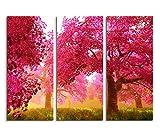 3 x 40 x 90 Cm (totale :  130 x 90 cm) pour jeu sur tableau toile de lin motif fleurs de cerisiers jardin japonais sur toile 'panorama