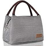Buringer Reusable Insulated Lunch Bag Cooler Tote Box Meal Prep for Men & Women Work Picnic or Travel (Grey White Stripes Large Size)