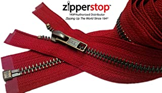 Zipperstop Wholesale YKK®- Jacket Zippers YKK® #5 Antique Brass- Metal Teeth Separating for Crafter's Special Color Hot Red #519 Made in USA - Custom Length (14 inches)