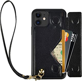 iPhone 11 Wallet Case, iPhone 11 Card Holder Case, ZVEdeng iPhone 11 Case with Wrist Strap, Shockproof Leather Credit Card Holder Case Slim Magnetic Flip Case Handbag for iPhone 11 6.1inch-Black