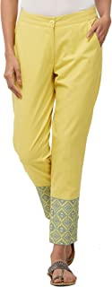 NAARI Yellow Cotton Twill Embroidered Mid Rise Cigarette Pants For Women's