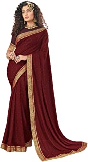 Indian Designer Lycra Sari Party Wear Solid Stone Work Saree with Contrast Blouse Online 6242