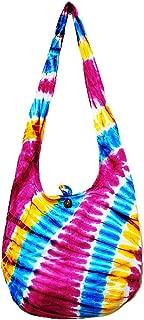 Thai Hippie Tie Dye Hobo Sling Crossbody Shoulder Bag Purse Handmade Zip Mix Pattern Cotton Gypsy Boho Messenger Large