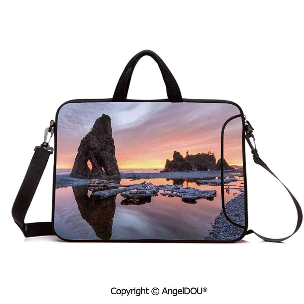 AngelDOU Laptop Sleeve Notebook Bag Case Messenger Shoulder Laptop Bag Sunset Theme Sea Stacks and Driftwood at Ruby Beach Digital Image Compatible with MacBook HP Dell Lenovo Orange and Grey