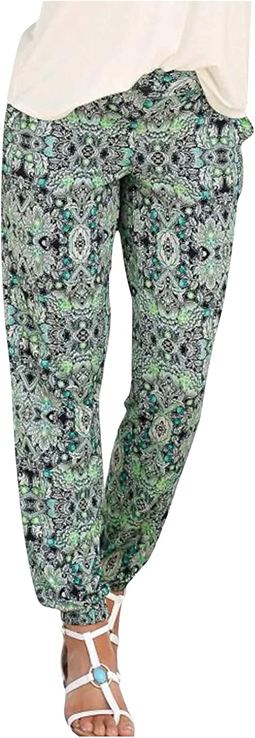Meengg Casual Pants for Women Dressy High Waist Elastic Long Trousers Boho Beach Pants with Pockets Active Pants