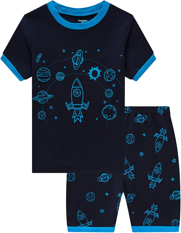 Little Boys Short Pajamas Sets for Toddler 100% Cotton Dinosaur Truck Starry Train Sleepwear Summer 2 Piece kids Clothes Pjs 2-7T 6323 6Years