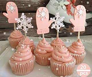 Set of 20 JeVenis Pink Winter Onederland Girl Cupcake Decoration Snowflake Cupcake Toppers for Christmas Winter Wonderland Party Baby Shower