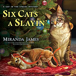 Six Cats a Slayin'     Cat in the Stacks Mystery Series, Book 10              By:                                                                                                                                 Miranda James                               Narrated by:                                                                                                                                 Erin Bennett                      Length: 8 hrs and 40 mins     138 ratings     Overall 4.7