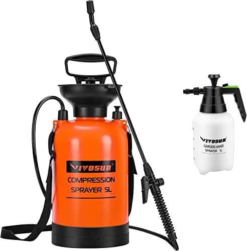 high quality VIVOSUN 1.3 Gallon Pump Sprayer & 68oz Handheld Sprayer, with Pressure popular Relief Value and Adjustable Shoulder Strap, for new arrival Lawn and Garden sale
